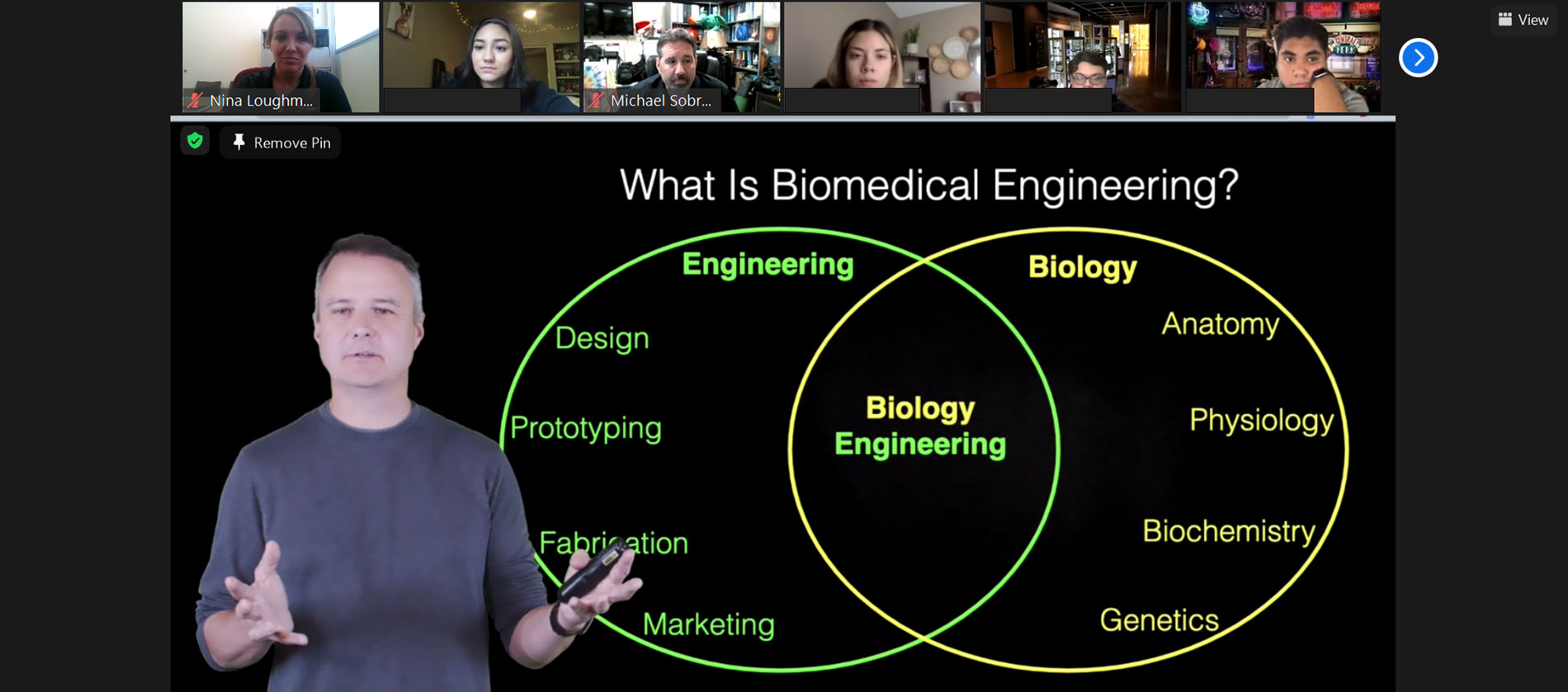 A Zoom screenshot with Associate Professor Jeffrey Kleim and a Venn diagram of engineering and biology concepts that are used in biomedical engineering.